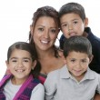 图库照片: Hispanic single parent family with mother, sons and daughter