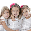 Headshot of three smiling little girls — Stock Photo