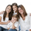 Full length image of smiling hispanic mother and daughters — 图库照片