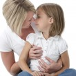 Stock Photo: Three quarter length image of mother and daughter