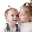 Two adorable caucasian little sisters — Stock Photo