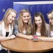 Stock Photo: Waist up image of four caucasian teenage high school girls