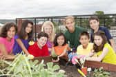 Portrait of ethnically diverse children working together — Stock Photo
