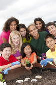 Cute ethnically diverse children working together — Stock Photo