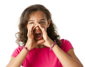 Mixed race girl is shouting a message — Stock Photo