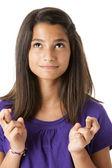Spansktalande teen teen flicka korsar fingrarna — Stockfoto