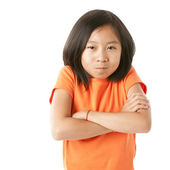 Stubborn asian little girl closeup — Stock Photo