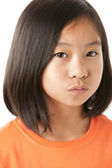 Displeased asian little girl — Stock Photo