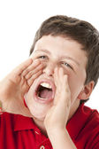 Boy is shouting a message — Stock Photo