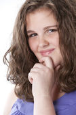 Headshot of smiling teenage girl — Stock Photo
