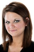 Closeup portrait of smiling pretty woman — Stock Photo