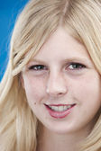 Close up portrait of smiling caucasian teenage girl — Stock Photo