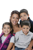 Hispanic single parent family with mother, sons and daughter — Stok fotoğraf