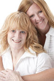 Full frame image of caucasian adult mother and daughter — Stock Photo