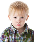 Headshot of sad toddler little boy — Stock Photo