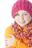 Little girl bundled up in her colorful winter hat and scarf — Stock Photo
