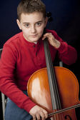 Image of preteen caucasian boy playing cello — Stock Photo