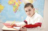 Image of caucasian boy in school — Stock Photo