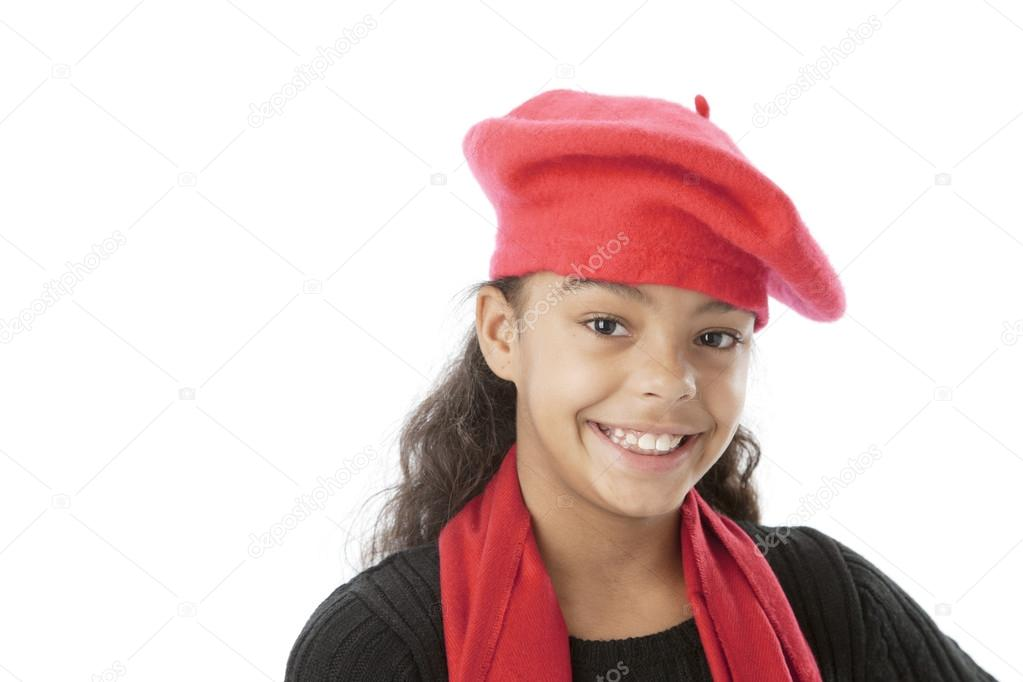 ... african american preteen girl wearing a red hat and scarf —Photo by