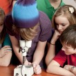 School Science. Students in the school classroom looking at something under the microscope — Stock Photo #21370247
