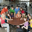Education. Group of teenage high school students together as friends or team, in colorful clothes — Foto de stock #21370279