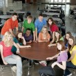 Education. Group of teenage high school students together as friends or team, in colorful clothes — Foto Stock #21370279