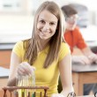 School Science.  Caucasian  high school student learning about chemistry in science class. — Stock Photo