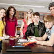 School Science.  High school students wearing safety equipment - Stockfoto