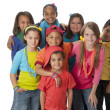 Foto Stock: Diversity. Diverse group of children wearing vibrant colorful clothes.