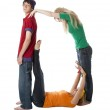 Human Alphabet: Diverse teenagers work together to form letters. Letter O — Stockfoto
