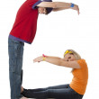 Human Alphabet. Diverse teenagers work together to form letters. Letter G — Stock Photo #21372481