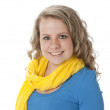 Real. Caucasian teenage girl wearing vibrant colorful clothes and scarf — Stock Photo