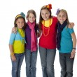 Diversity. Group of four diverse little girls with their arms around each other — Stock Photo