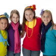 Diversity. Group of four diverse little girls with their arms around each other — Stock Photo #21372917