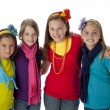 Stock Photo: Diversity. Group of four diverse little girls with their arms around each other