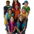 Diversity. Multi-Racial group of children wearing vibrant colorful clothes — Stock Photo #21372987