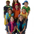 Diversity. Multi-Racial group of children wearing vibrant colorful clothes — Stock Photo