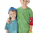 Real. Caucasian little boys wearing bright clothes and baseball caps — Stock Photo