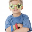 Real. Caucasian little boy wearing silly star shaped sunglasses, — Stock Photo