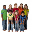 Diversity. Multi-racial group of eight children in colorful clothing standing together as team — Photo #21373551