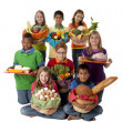 Healthy Eating. Group of children holding baskets with a variety of healthy food — Stock Photo #21373559