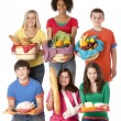 Healthy Eating. Diverse group of teenage girls and boys holding baskets with the food groups of fruits, vegetables, dairy, meat, and grains - Stock Photo