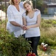 Gardening. Caucasian mother and teenage daughter picking vegetables — Stock Photo #21374437