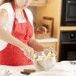 Stock Photo: Baking. Mixed race young adult wommaking fresh apple pie