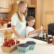 Canning. Mother and son canning homegrown fruits for preserves — Stock Photo #21374899