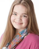 Real. Caucasian smiling teenage girl — Stock Photo