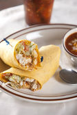 Food and Drink. Chicken wrap sandwich with a bowl of chili — Stock Photo
