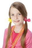 Caucasian little girl wearing vibrant colorful clothes and accessories. — Stock Photo