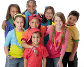 Diversity. Diverse group of children wearing vibrant colorful clothes. — Stock Photo
