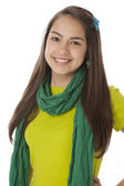 Real. Hispanic teenage girl wearing vibrant colorful clothes and scarf. — Stock Photo